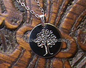 Hand Engraved Tree of Life Sterling Silver Disc Pendant Necklace Mothers Day