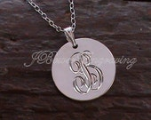 Letter B - Hand Engraved Pendant Necklace - 3/4 inch Personalized Sterling Silver Pendant