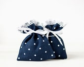 Linen favor bags - Blue Polka dot wedding favor linen lace gift bags - Blue linen shower favor bags - Christening favor bags