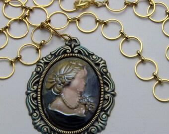 Handmade Raku  Cameo Necklace