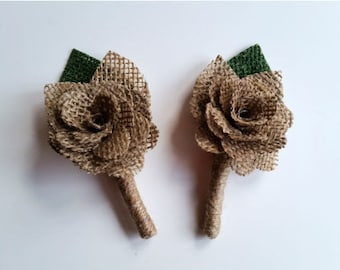 CLEARANCE - 2 Burlap Flower Boutonnieres, Rustic Wedding Decoration, Groom Wedding Boutonniere,Wedding Decoration,Wedding Flower Boutonniere