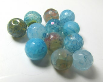 12 Aqua Turquoise and Brown 8mm Faceted Agate Round Semiprecious Jewelry Beads