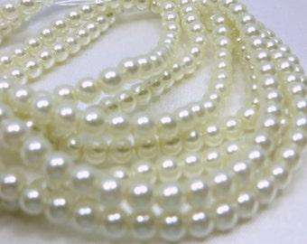 4mm white glass round pearl jewelry beads - 96 beads