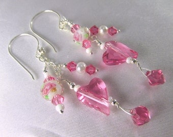 Swarovski Wild Heart Pink Rose Lampwork and White Pearl Multi Dangle Earrings on all Sterling Silver