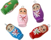 5 Russian Doll Charms Painted Matryoshka Wood Colorful Kitschy Fun - K232