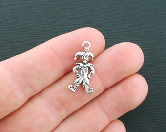 BULK 20 Jester Charms Antique Silver Tone 3D- SC4527