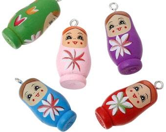 5 Russian Doll Charms Painted Matryoshka Wood Colorful Kitschy Fun - K232