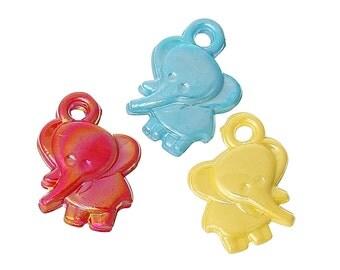 SALE 25 Elephant Charms Colorful Acrylic Fun K214