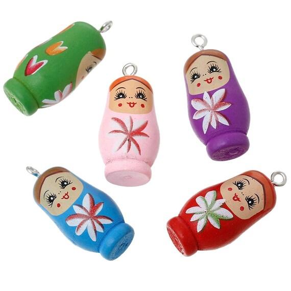 Russian Doll Charms Painted Matryoshka Wood Colorful Kitschy Fun ...