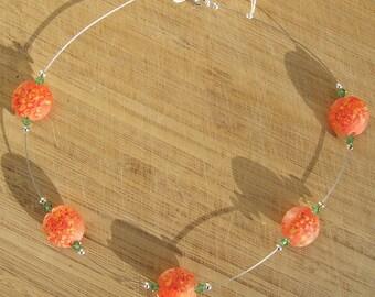 Float - orange lampwork and crystal necklace