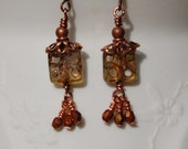Copper Capped Picasso Czech Glass Earrings....item number 441