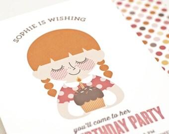 Girl Birthday Party Invitation, Custom Portrait Invite, Cupcake // BIRTHDAY WISH
