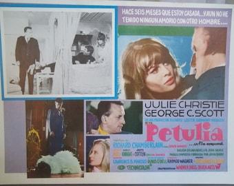 Spanish Language Movie Poster, Petulia, Vintage Movie, Paper Ephemera, Romantic Drama Movie, George C. Scott, Julie Christie