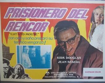 Spanish Language TV Movie Poster, Mousey, Cat and Mouse, Kirk Douglas, Jean Seberg, Vengeance Movie, Suspense Thriller,  Eastman Color Movie