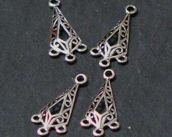 Sterling Silver Filigree Triangular Chandelier Links, Connectors, Art Deco, 925