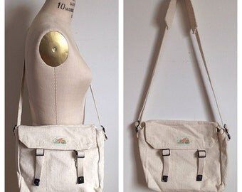 Vintage white messenger bag