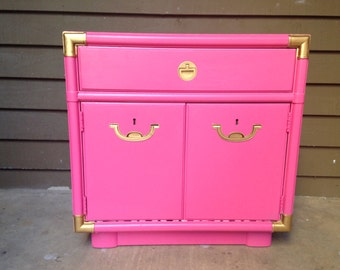 Satin Peony Pink and Gold Regency Campaign Drexel Cabinet SOLD Can make similar