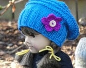 Knitting PATTERN Doll Blue Morning Beanie and Boot Cuff Set for American Dolls and 18 inch dolls