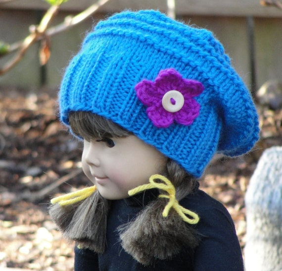 Knitting PATTERN Doll Blue Morning Beanie and Boot Cuff Set