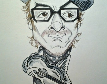 Elvis Costello Rock and Roll Caricature Music Art Rock Portrait