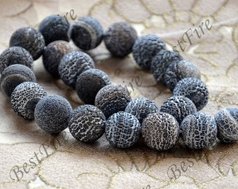Charm 16mm Black Weathered Agate stone Beads ,agate round stone beads loose strands,beads stone agate