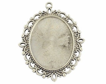 40x30 cameo setting cabochon mount Antique Silver pendant tray Pendant frame with Bail  diy gemstone necklace or pendant setting base 767x