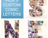Large Custom Comic Name, Decoupage Letters, Comic Book Wall Decor, Pick 5 Letters, 12 Inches