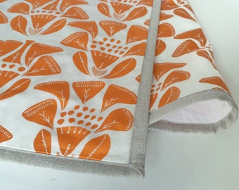 SALE - Table Runner -- Quilted with Natural Linen Binding -- Orange Flowers on White