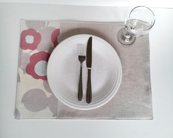 Placemats, Set of 4 - Dusty Rose, Grey and Linen - Ready to ship