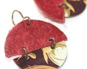 Old Metal tins and Embossed  Recycled Upholstery Leather Earrings - Brown, Tan, White, Blood Red, Copper, Brass