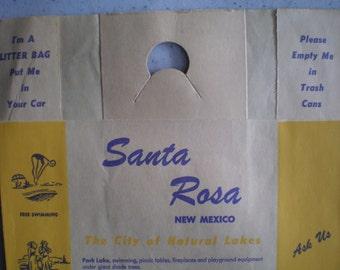 Vintage Mid Century Unused Travel Litter Bag - Santa Rosa, New Mexico