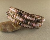 Stress & Anxiety Leather Wrapped Bracelet with Rose Quartz, Lepidolite, Pink Opal and Silver Leaf Jasper