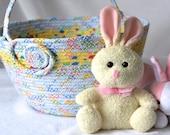 """Blue Easter Basket, Handmade Easter Bucket, Easter Decoration, Large Easter Egg Hunt Bag, 6""""H, Boy Keepsake Easter Basket"""