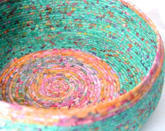 Gorgeous Decorative Basket, Handmade Batik Cat Bed, Dog Bed, Shoe Bin, Modern Cotton Pet Bed, Woodland Teal Green Batik Fabric Basket