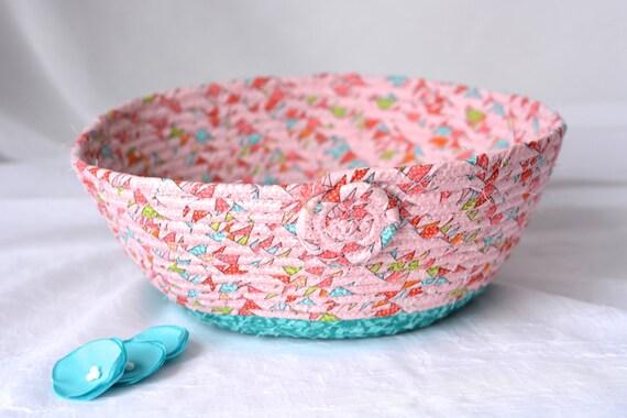 Coral Nursery Basket, Handmade Gift Basket, Modern Coral Picnic Basket, Pinky Peach Fruit Bowl, Textile Art Basket, Bread Basket