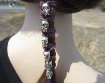 Skull Hair Jewelry Leather Hair Ties Ponytail Holder Biker Goth Punk Horror Wrap Extensions Purple Black