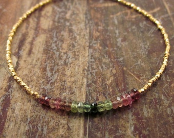 Watermelon Tourmaline Bracelet Womens Gift Gold Vermeil Bead Bracelet Beaded Bracelets Green Pink Gemstone Stone October Birthstone Bracelet
