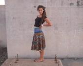 SALE - Fiesta Hand Woven & Crazy Pattern Raw Silk Below Knee Wrap Skirt