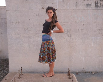 SALE - Fiesta Hand Woven & Crazy Pattern Raw Silk Below Knee Wrap Skirt