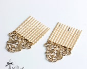 5Pcs Wholesale Gold plated Brass Filigree hair comb Setting NICKEL FREE(COMBSS-22)