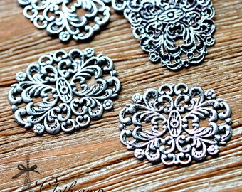 Antiqued Silver  plated RAW brass Filigree  Jewelry Connectors Setting Cab Base Connector Finding  (FILIG-AS-16)