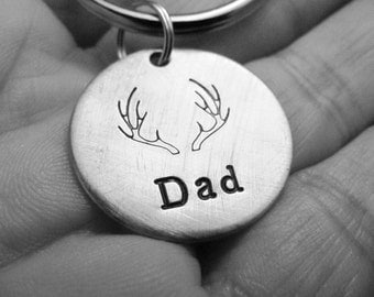 Antler Fathers Day Dad Mens Hand Stamped Personalized Key Chain With Choice of Brushed Aluminum Copper or Brass Charm Tag Made To Order