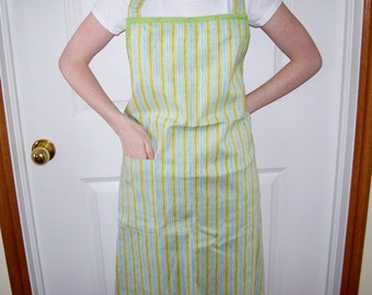 Womens Full Apron in Blue and Green Striped Fabric - Butcher Apron, Womens Apron, Full Apron, Cooking Apron, Simple Apron