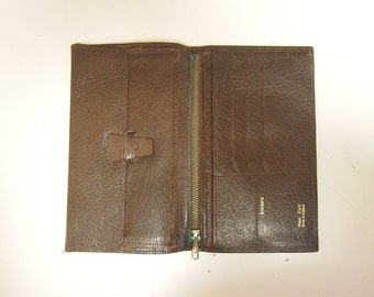 Vintage 1970's brown leather unisex slim-line wallet