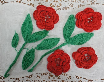 Red Crochet Flower Appliques Lot of 4 Plus Leaves
