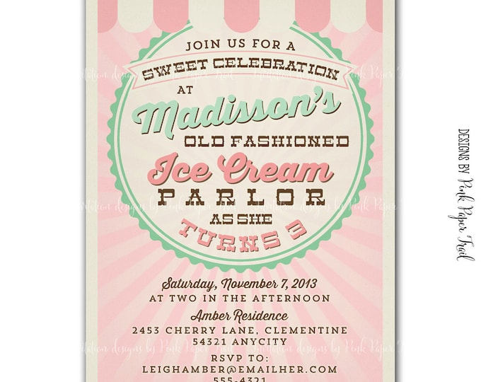 Vintage Ice Cream Parlor invitation, Ice Cream Party v.1, I will customize for you, Print your own