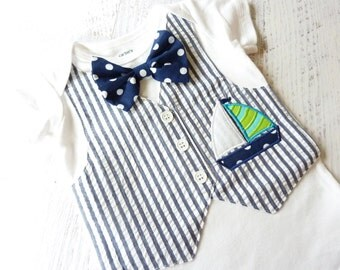 Summer Sailing Tuxedo Bodysuit Vest with Removable Matching Bow Tie
