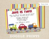 Cars, Trucks Invitation - Transportation Birthday Invitation - Customized Printable Invitation Boy's Party - Background Image 4x6 or 5x7