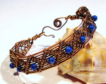 Lapis Lazuli and Copper Wire Woven Bracelet, Free US Shipping