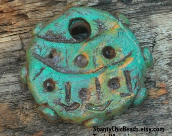 Poly Clay Port Hole pendant - funky hand formed, painted, and texturized